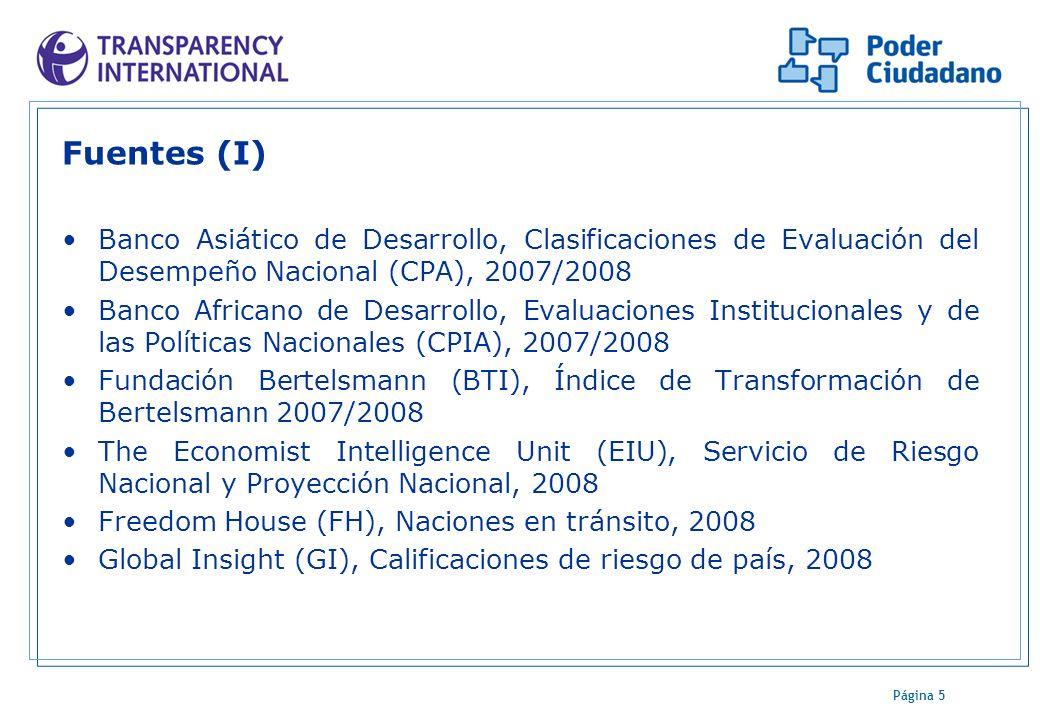 Página 5 Fuentes (I) Banco Asiático de Desarrollo, Clasificaciones de Evaluación del Desempeño Nacional (CPA), 2007/2008 Banco Africano de Desarrollo,