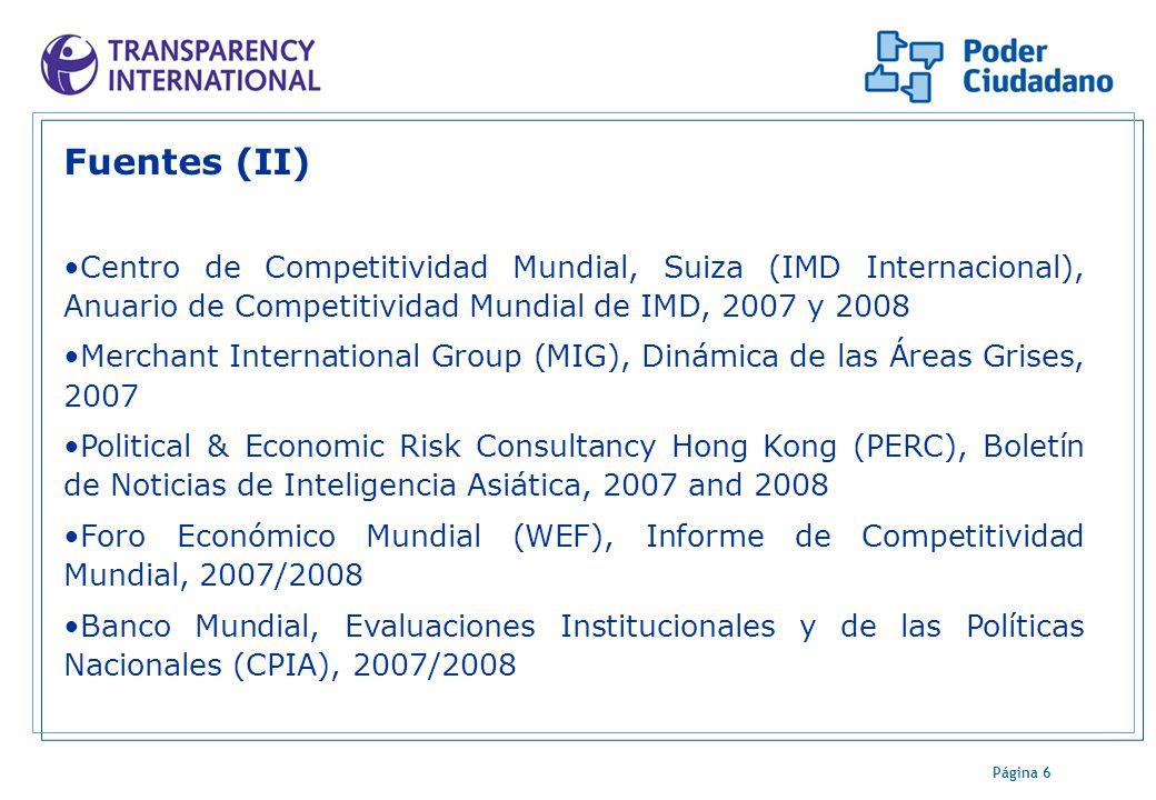 Página 6 Fuentes (II) Centro de Competitividad Mundial, Suiza (IMD Internacional), Anuario de Competitividad Mundial de IMD, 2007 y 2008 Merchant Inte