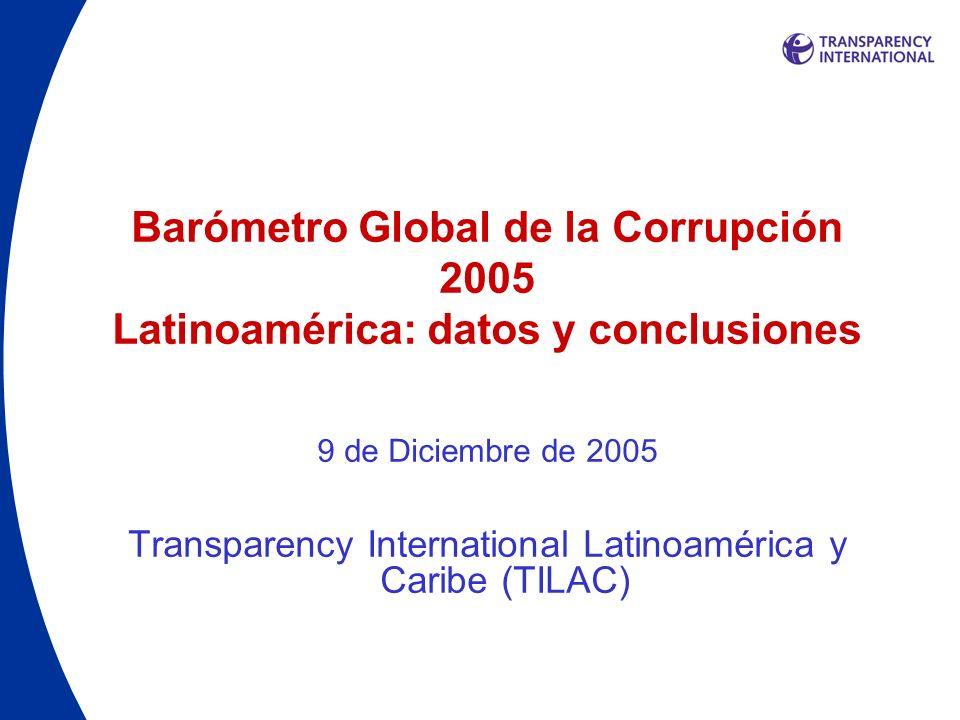 Barómetro Global de la Corrupción Descripción El Barómetro busca entender cómo y de qué manera la corrupción afecta la vida cotidiana de la gente, proporcionando un indicador sobre su forma y extensión desde la perspectiva de los ciudadanos alrededor del mundo.