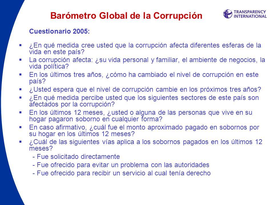 Barómetro Global de la Corrupción Cuestionario 2005: ¿En qué medida cree usted que la corrupción afecta diferentes esferas de la vida en este país? La