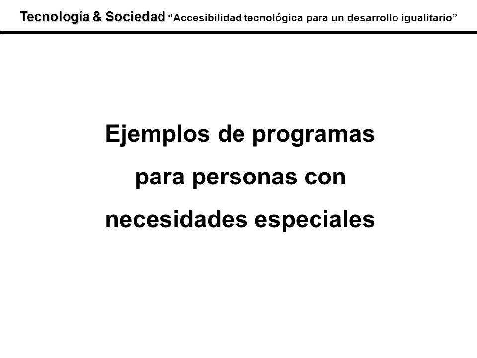 Ejemplos de programas para personas con necesidades especiales