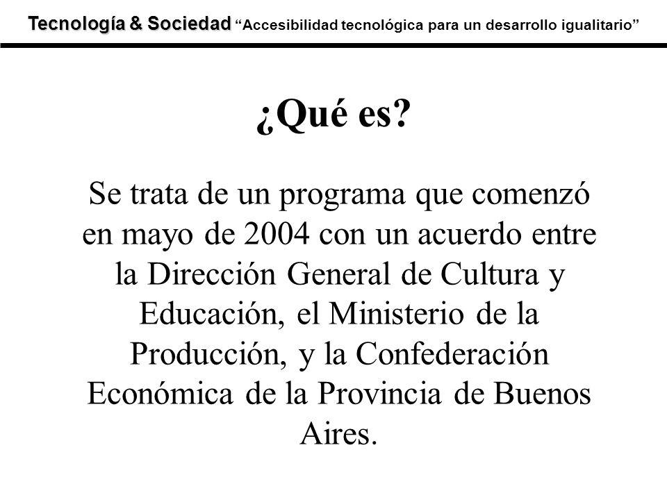 Tecnología & Sociedad Tecnología & SociedadAccesibilidad tecnológica para un desarrollo igualitario Se trata de un programa que comenzó en mayo de 200