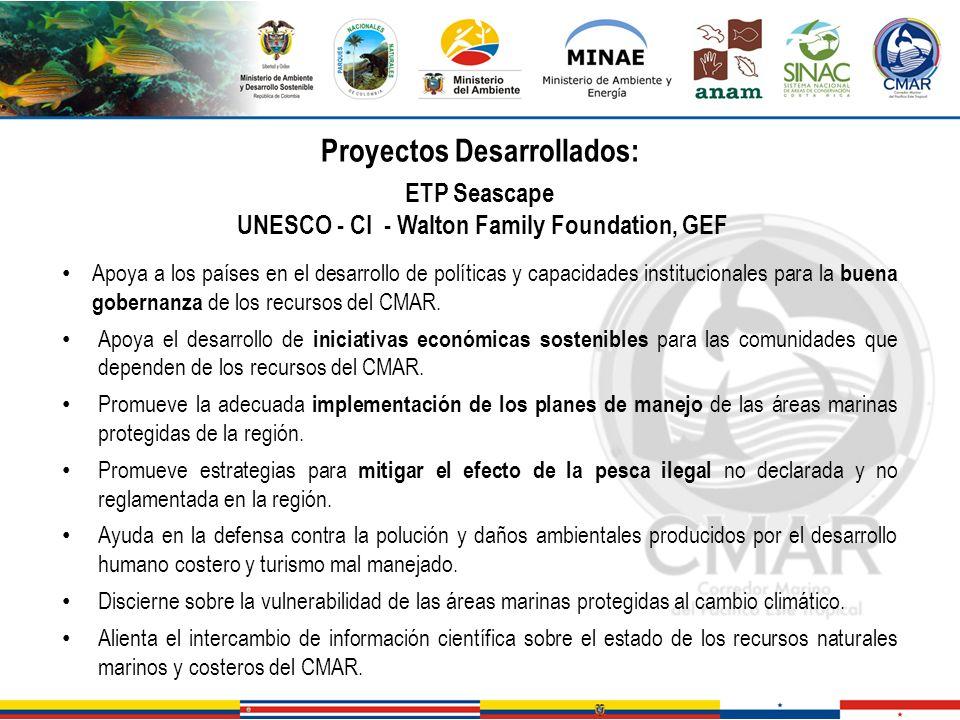 Proyectos Desarrollados: ETP Seascape UNESCO - CI - Walton Family Foundation, GEF Apoya a los países en el desarrollo de políticas y capacidades insti
