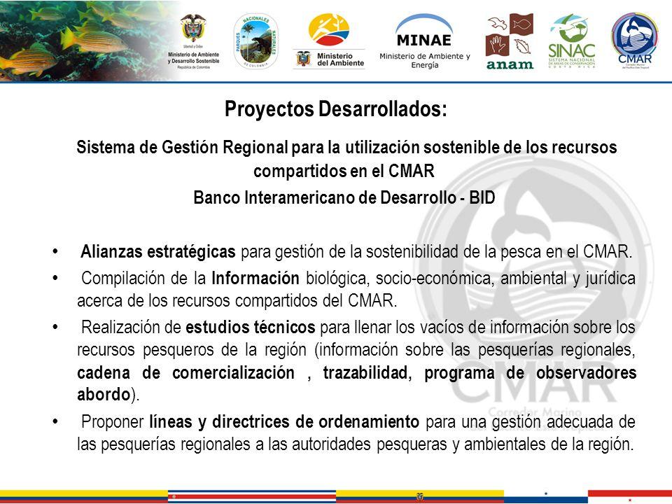 Proyectos Desarrollados: Sistema de Gestión Regional para la utilización sostenible de los recursos compartidos en el CMAR Banco Interamericano de Des