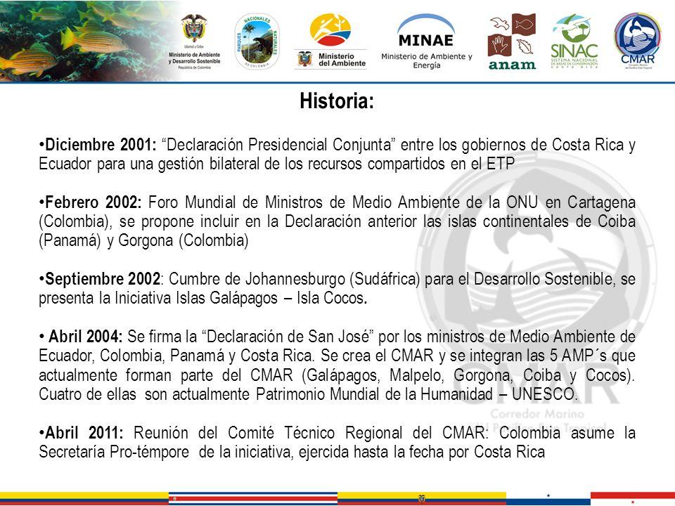 Historia: Diciembre 2001: Declaración Presidencial Conjunta entre los gobiernos de Costa Rica y Ecuador para una gestión bilateral de los recursos com