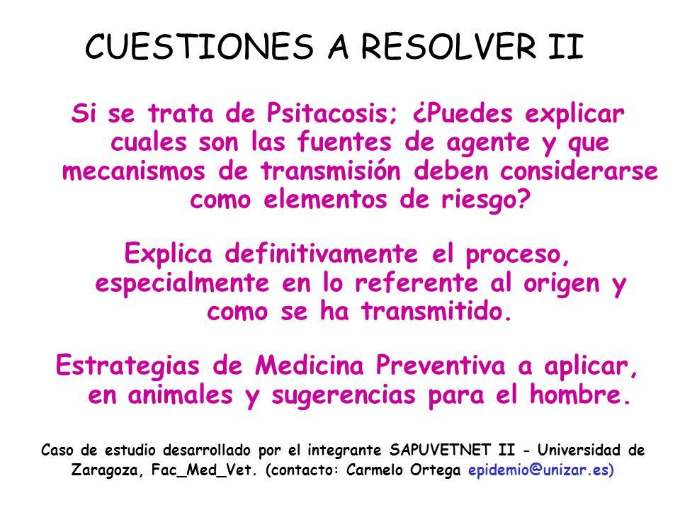 CUESTIONES A RESOLVER II Si se trata de Psitacosis; ¿Puedes explicar cuales son las fuentes de agente y que mecanismos de transmisión deben considerarse como elementos de riesgo.
