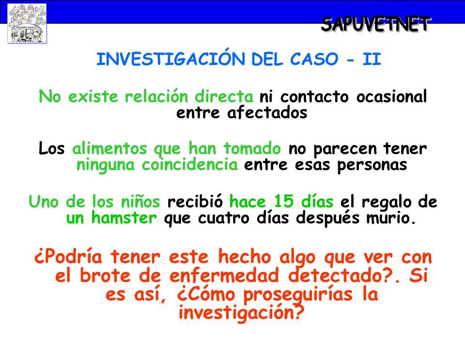 INVESTIGACIÓN DEL CASO - II No existe relación directa ni contacto ocasional entre afectados Los alimentos que han tomado no parecen tener ninguna coi