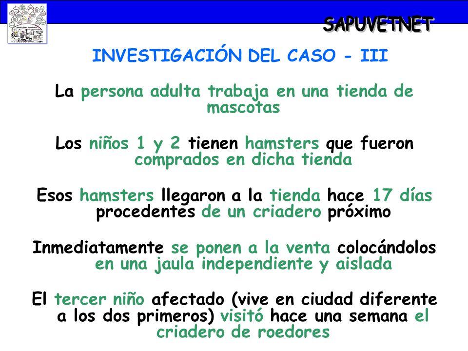 INVESTIGACIÓN DEL CASO - III La persona adulta trabaja en una tienda de mascotas Los niños 1 y 2 tienen hamsters que fueron comprados en dicha tienda