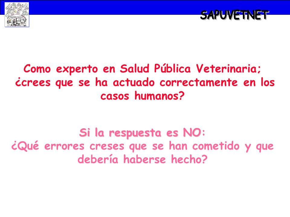 Como experto en Salud Pública Veterinaria; ¿crees que se ha actuado correctamente en los casos humanos? Si la respuesta es NO Si la respuesta es NO: ¿