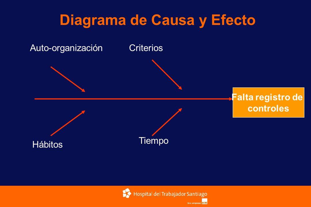 Diagrama de Causa y Efecto Falta registro de controles Auto-organizaciónCriterios Hábitos Tiempo