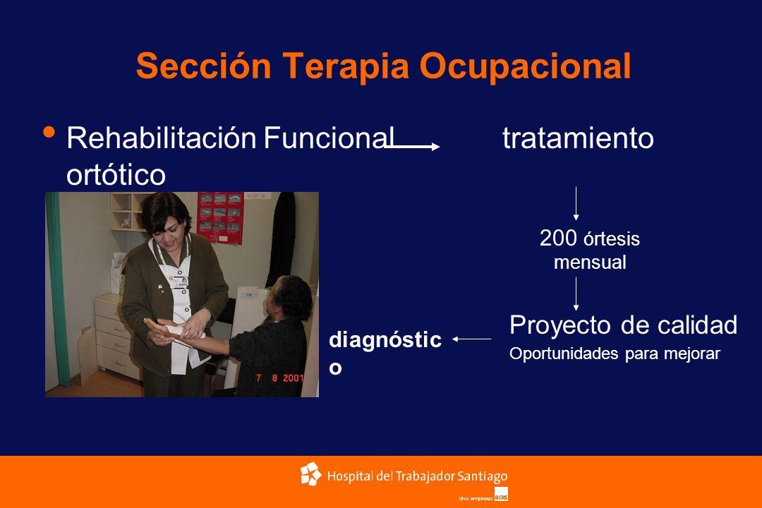 Sección Terapia Ocupacional Rehabilitación Funcional tratamiento ortótico 200 órtesis mensual Proyecto de calidad Oportunidades para mejorar diagnósti