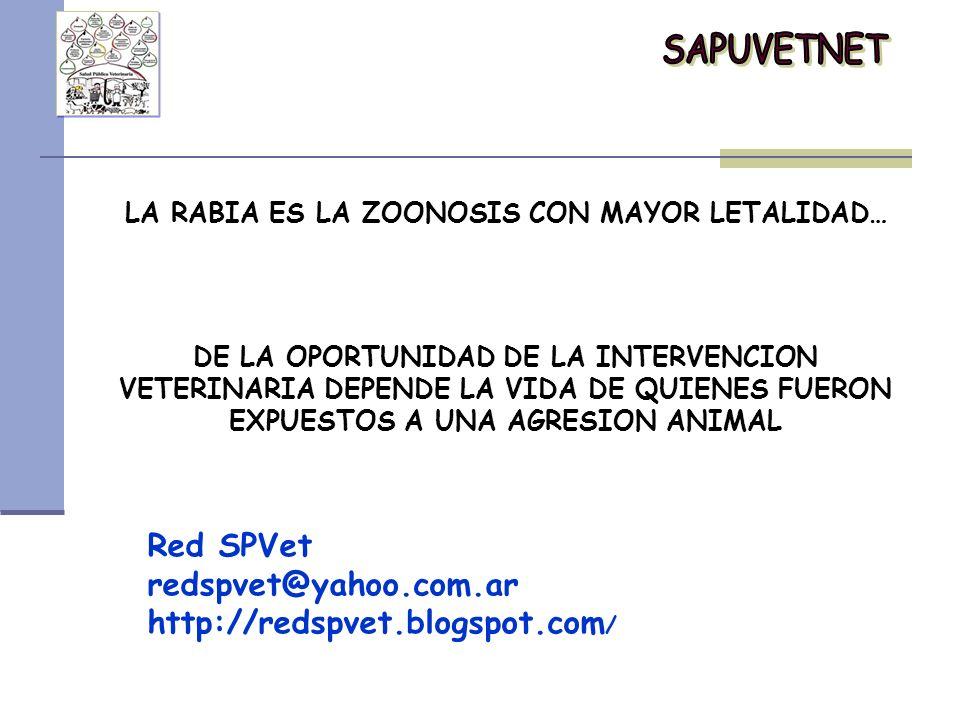 Red SPVet redspvet@yahoo.com.ar http://redspvet.blogspot.com / LA RABIA ES LA ZOONOSIS CON MAYOR LETALIDAD… DE LA OPORTUNIDAD DE LA INTERVENCION VETER