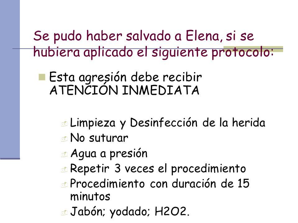 Se pudo haber salvado a Elena, si se hubiera aplicado el siguiente protocolo: Esta agresión debe recibir ATENCIÓN INMEDIATA Limpieza y Desinfección de
