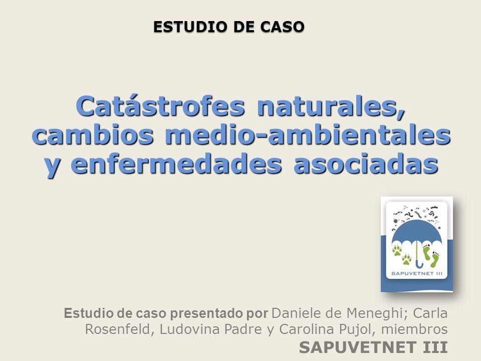 ESTUDIO DE CASO Estudio de caso presentado por Daniele de Meneghi; Carla Rosenfeld, Ludovina Padre y Carolina Pujol, miembros SAPUVETNET III Catástrofes naturales, cambios medio-ambientales y enfermedades asociadas