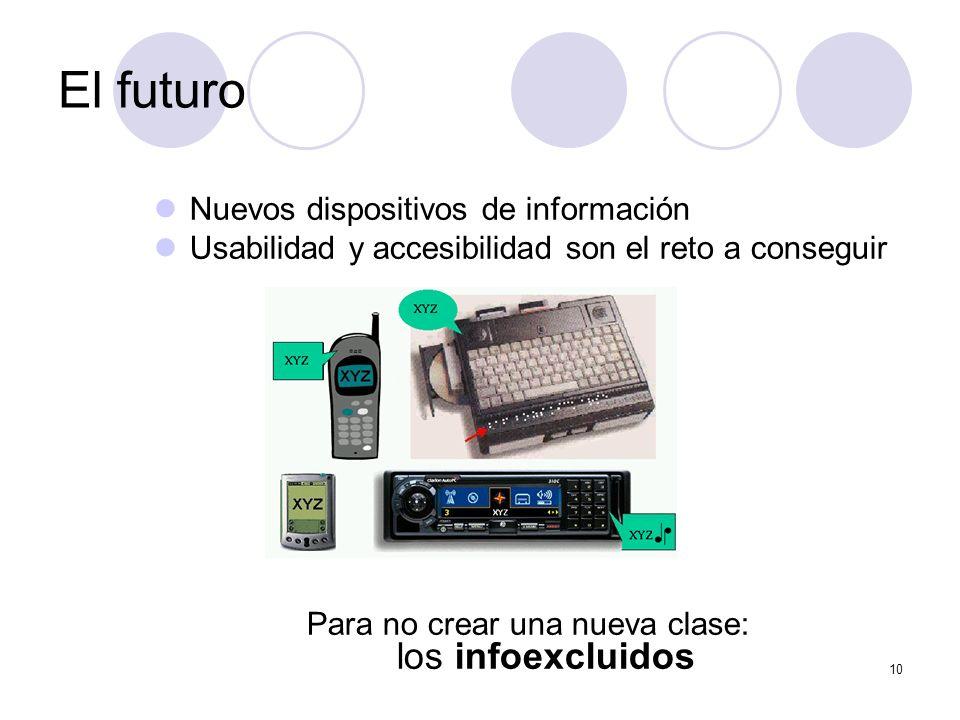 10 Nuevos dispositivos de información Usabilidad y accesibilidad son el reto a conseguir Para no crear una nueva clase: los infoexcluidos El futuro