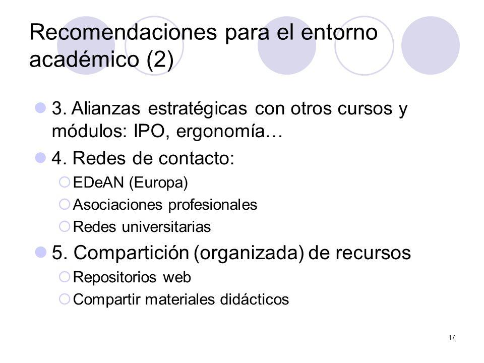 17 Recomendaciones para el entorno académico (2) 3.