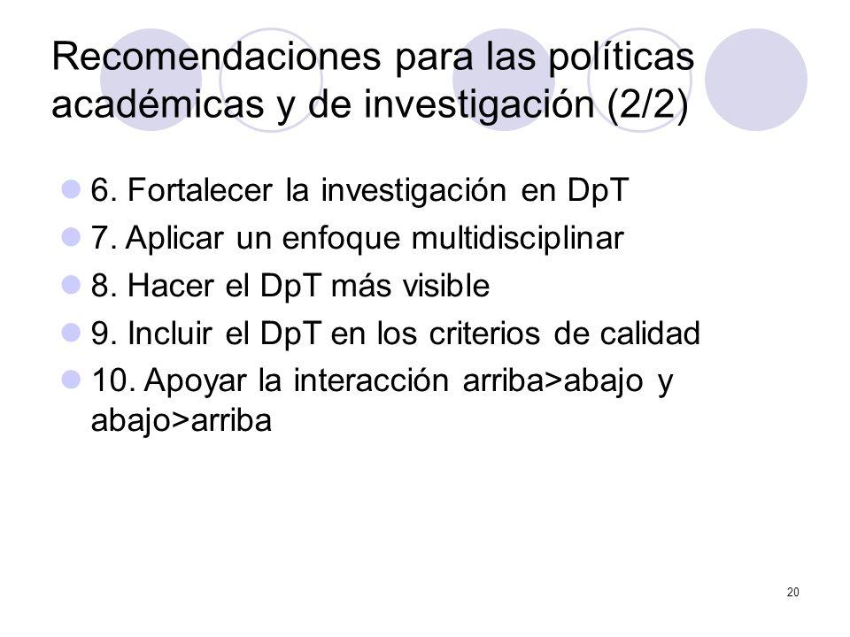 20 Recomendaciones para las políticas académicas y de investigación (2/2) 6.