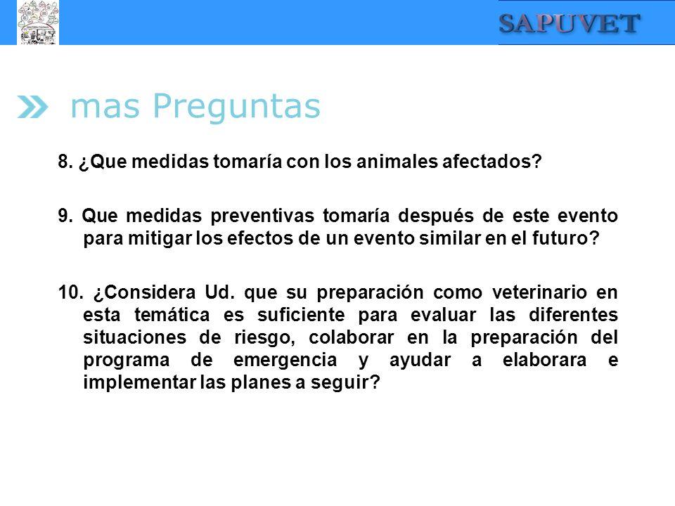 mas Preguntas 8. ¿Que medidas tomaría con los animales afectados? 9. Que medidas preventivas tomaría después de este evento para mitigar los efectos d