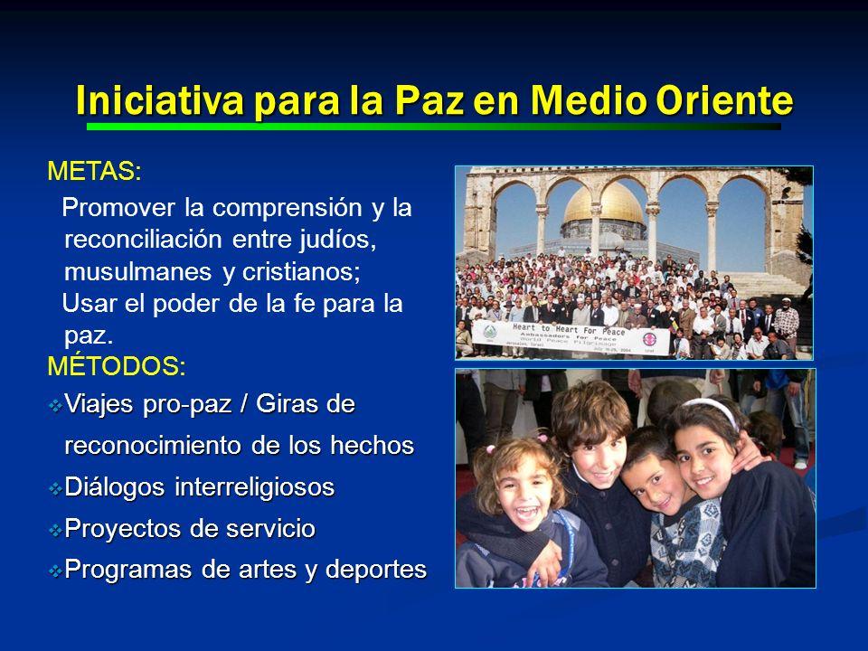 Iniciativa para la Paz en Medio Oriente METAS: Promover la comprensión y la reconciliación entre judíos, musulmanes y cristianos; Usar el poder de la