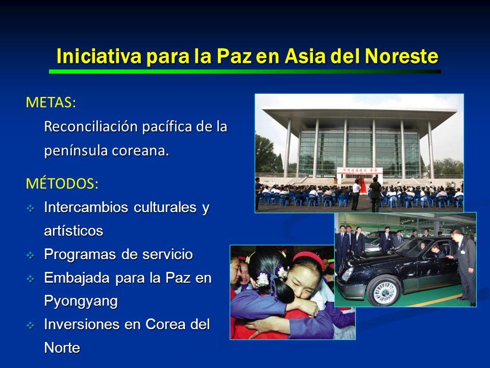 Iniciativa para la Paz en Asia del Noreste METAS: Reconciliación pacífica de la península coreana. MÉTODOS: Intercambios culturales y artísticos Inter