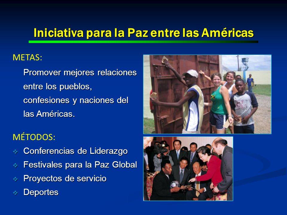 Iniciativa para la Paz entre las Américas METAS: Promover mejores relaciones entre los pueblos, confesiones y naciones del las Américas. MÉTODOS: Conf