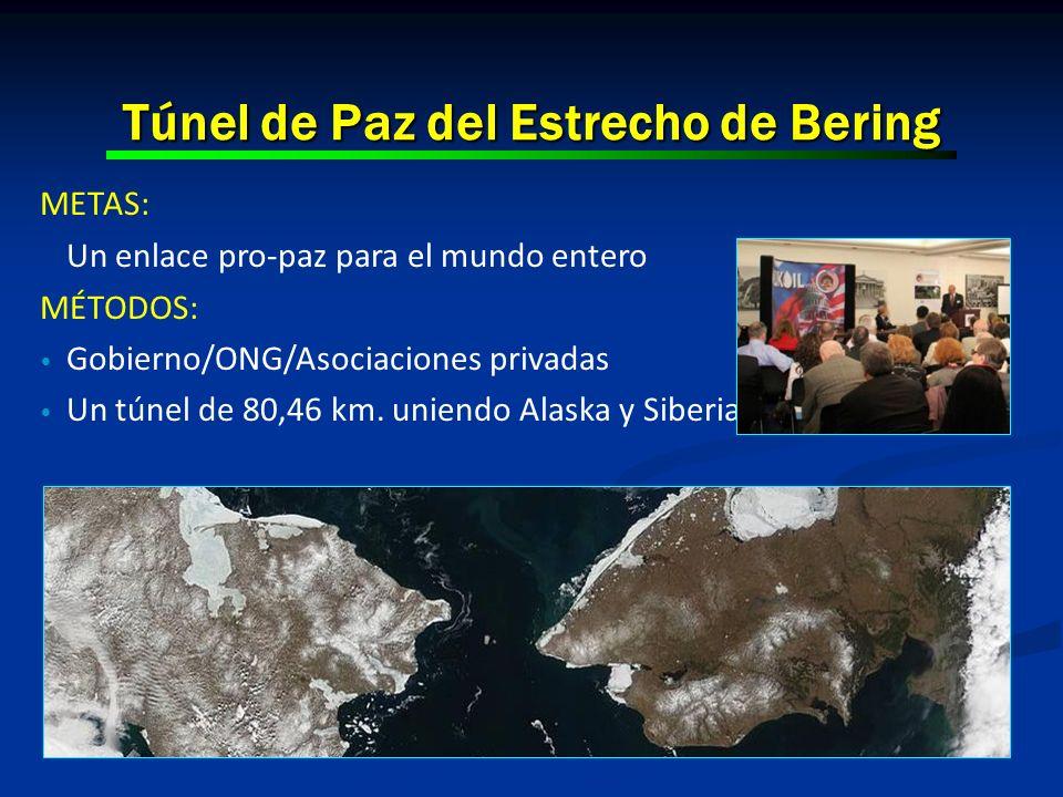 Túnel de Paz del Estrecho de Bering METAS: Un enlace pro-paz para el mundo entero MÉTODOS: Gobierno/ONG/Asociaciones privadas Un túnel de 80,46 km. un