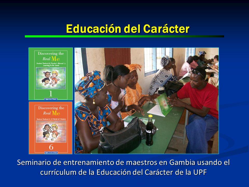 Educación del Carácter Seminario de entrenamiento de maestros en Gambia usando el currículum de la Educación del Carácter de la UPF