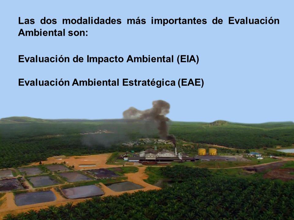Las dos modalidades más importantes de Evaluación Ambiental son: Evaluación de Impacto Ambiental (EIA) Evaluación Ambiental Estratégica (EAE)