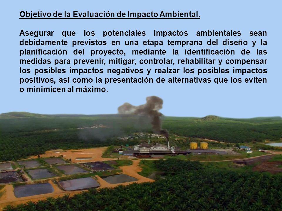 Objetivo de la Evaluación de Impacto Ambiental. Asegurar que los potenciales impactos ambientales sean debidamente previstos en una etapa temprana del