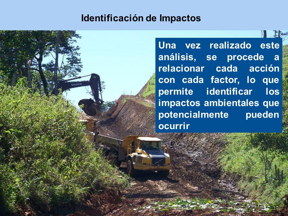 Una vez realizado este análisis, se procede a relacionar cada acción con cada factor, lo que permite identificar los impactos ambientales que potencia