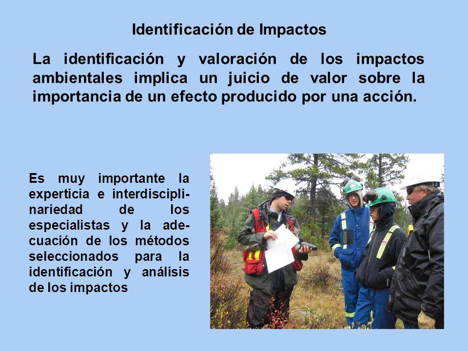 La identificación y valoración de los impactos ambientales implica un juicio de valor sobre la importancia de un efecto producido por una acción. Iden