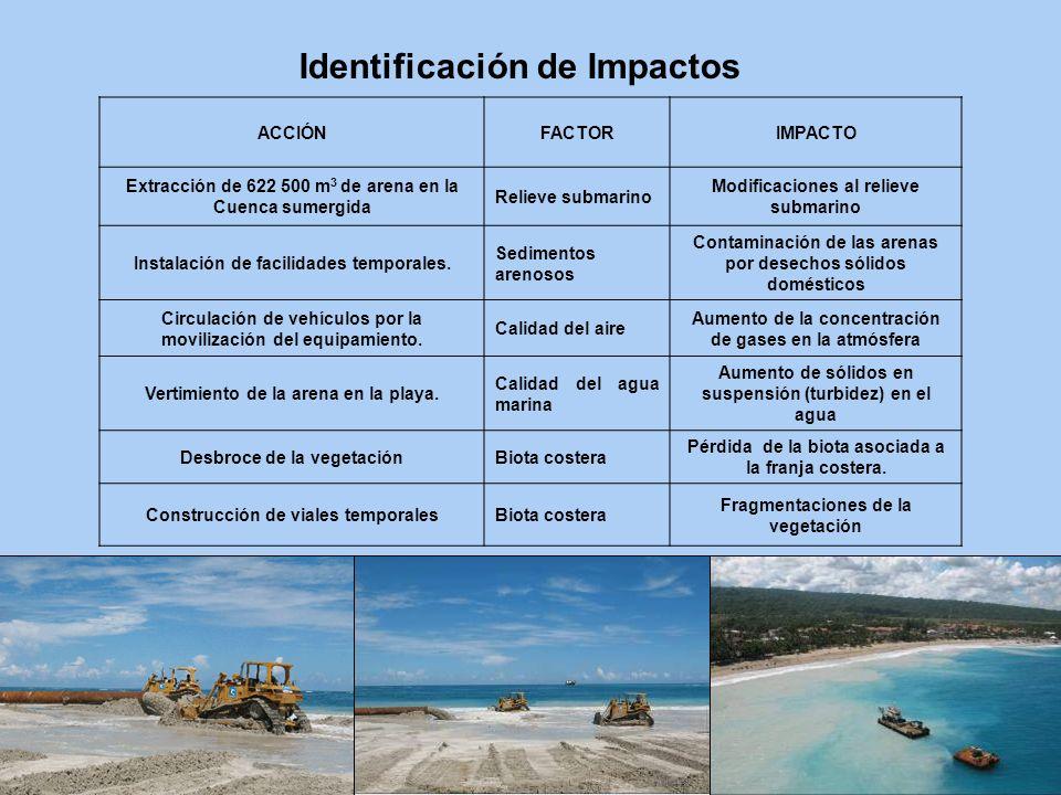 ACCIÓNFACTORIMPACTO Extracción de 622 500 m 3 de arena en la Cuenca sumergida Relieve submarino Modificaciones al relieve submarino Instalación de fac