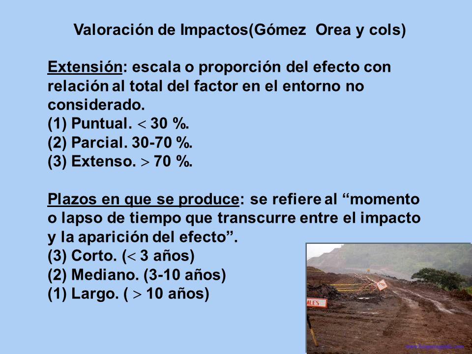 Extensión: escala o proporción del efecto con relación al total del factor en el entorno no considerado. (1) Puntual. 30 %. (2) Parcial. 30-70 %. (3)