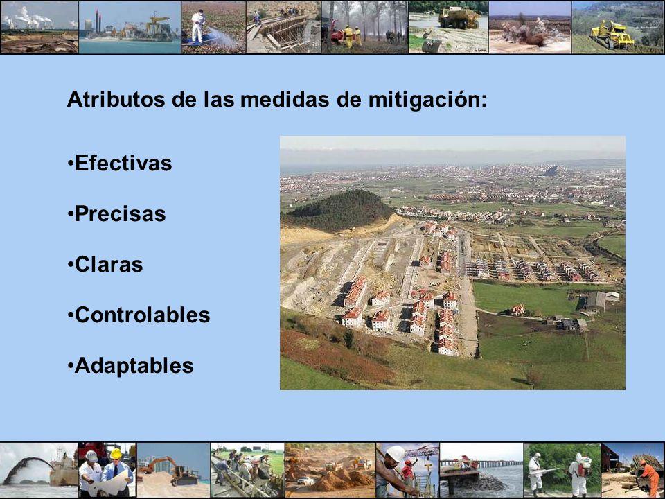 Atributos de las medidas de mitigación: Efectivas Precisas Claras Controlables Adaptables