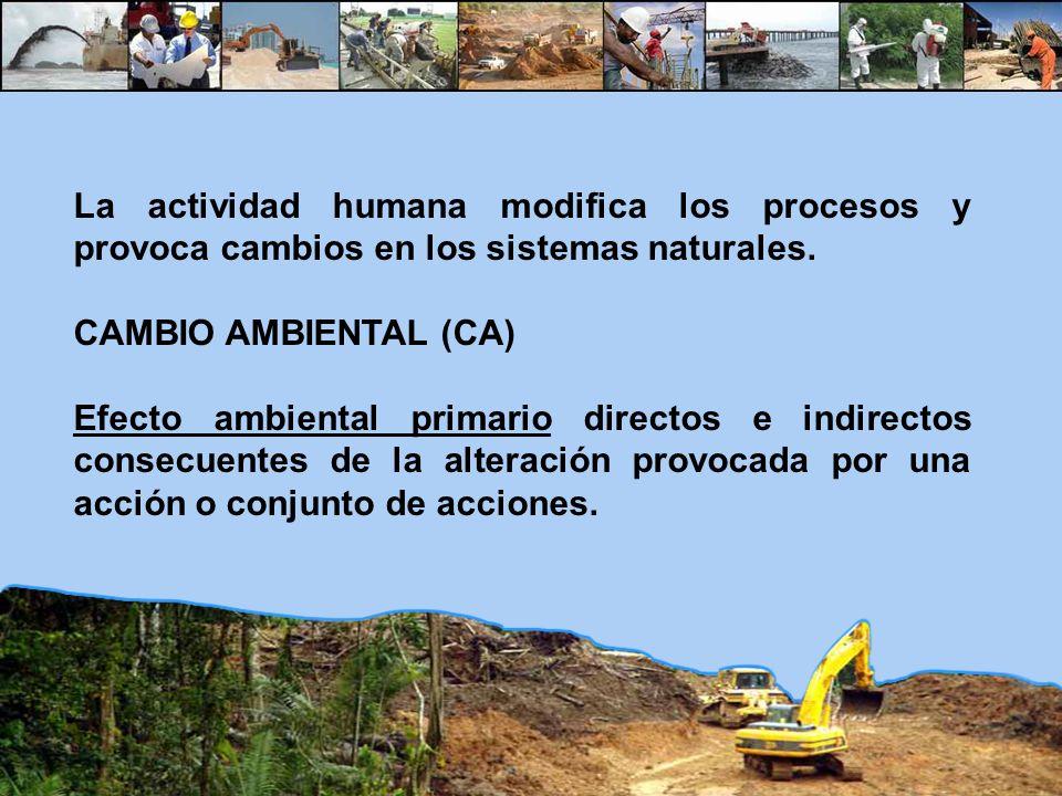 La actividad humana modifica los procesos y provoca cambios en los sistemas naturales. CAMBIO AMBIENTAL (CA) Efecto ambiental primario directos e indi