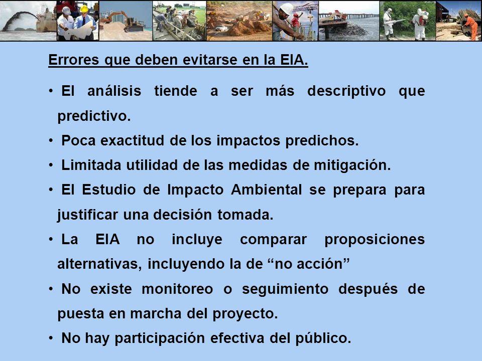 Errores que deben evitarse en la EIA. El análisis tiende a ser más descriptivo que predictivo. Poca exactitud de los impactos predichos. Limitada util