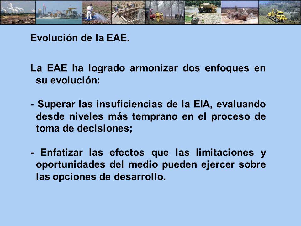 Evolución de la EAE. La EAE ha logrado armonizar dos enfoques en su evolución: - Superar las insuficiencias de la EIA, evaluando desde niveles más tem