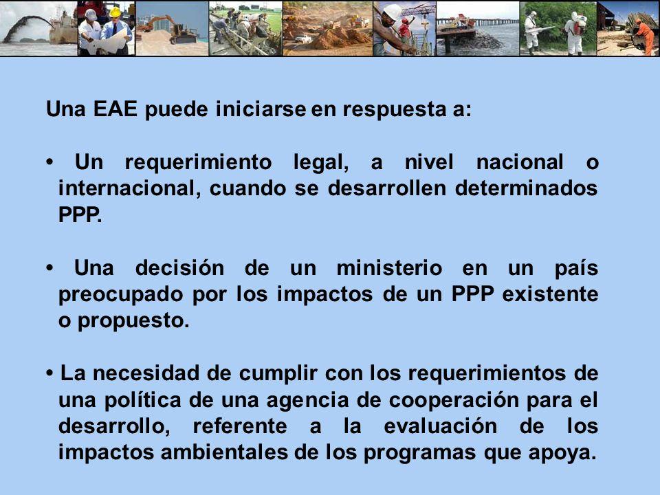 Una EAE puede iniciarse en respuesta a: Un requerimiento legal, a nivel nacional o internacional, cuando se desarrollen determinados PPP. Una decisión