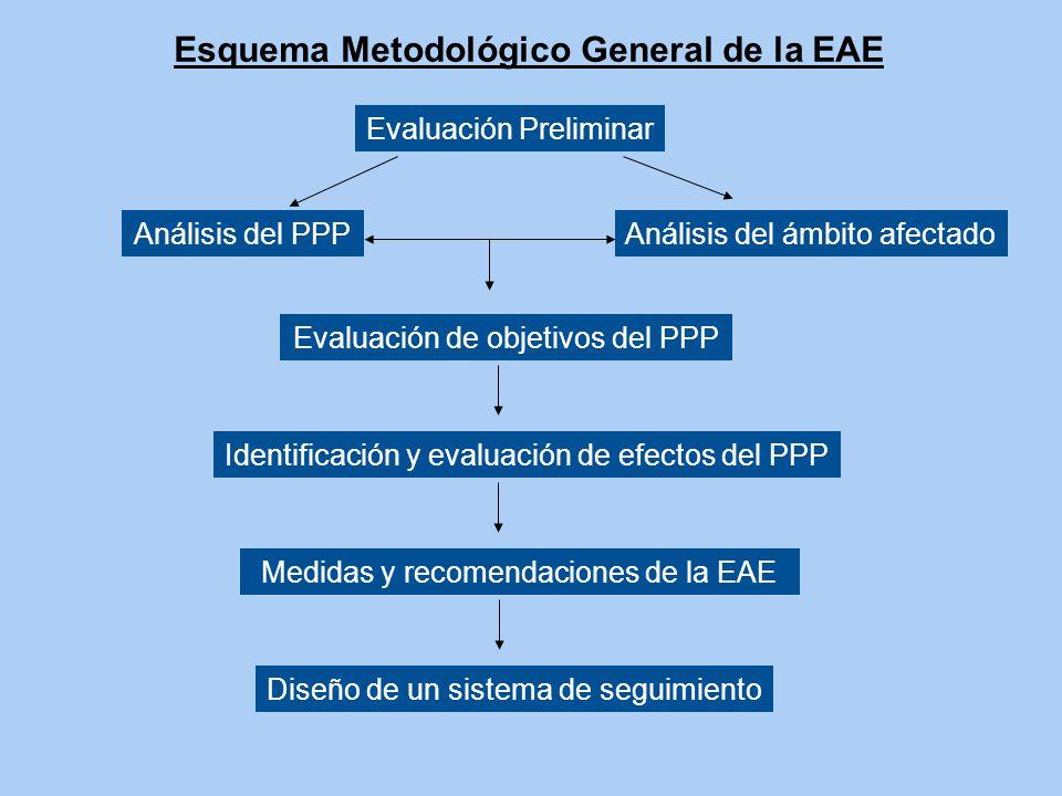 Esquema Metodológico General de la EAE Evaluación Preliminar Análisis del PPP Evaluación de objetivos del PPP Medidas y recomendaciones de la EAE Anál
