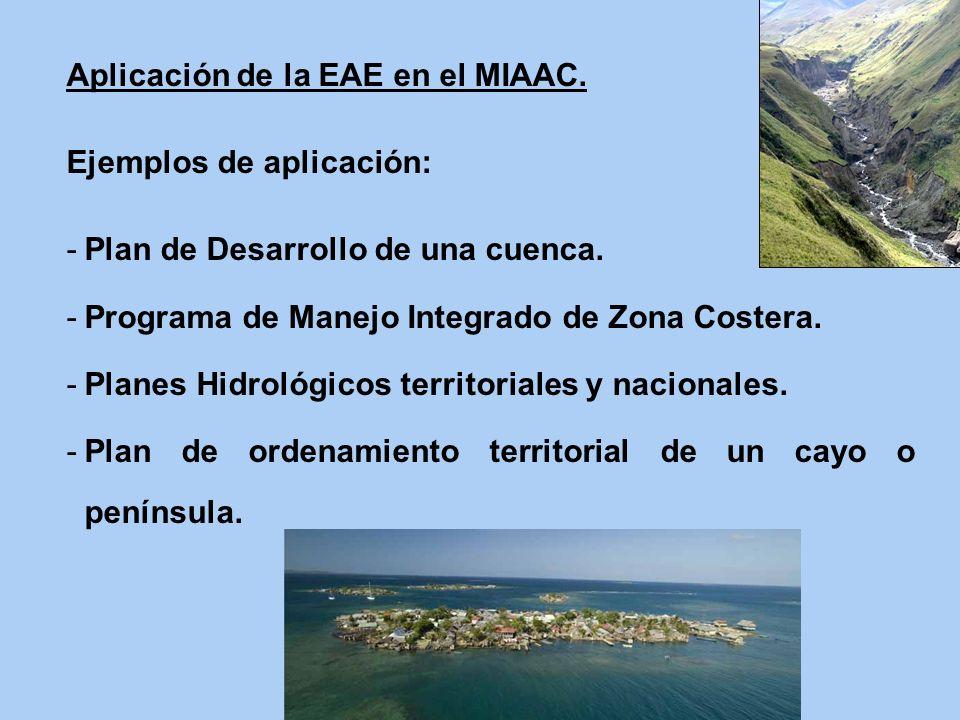 Aplicación de la EAE en el MIAAC. Ejemplos de aplicación: -Plan de Desarrollo de una cuenca. -Programa de Manejo Integrado de Zona Costera. -Planes Hi