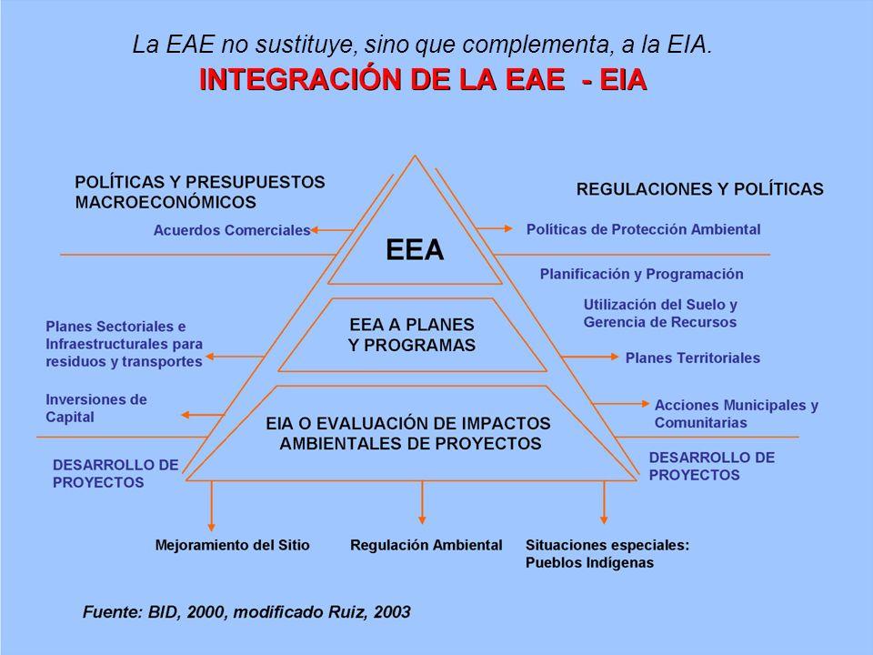 La EAE no sustituye, sino que complementa, a la EIA.