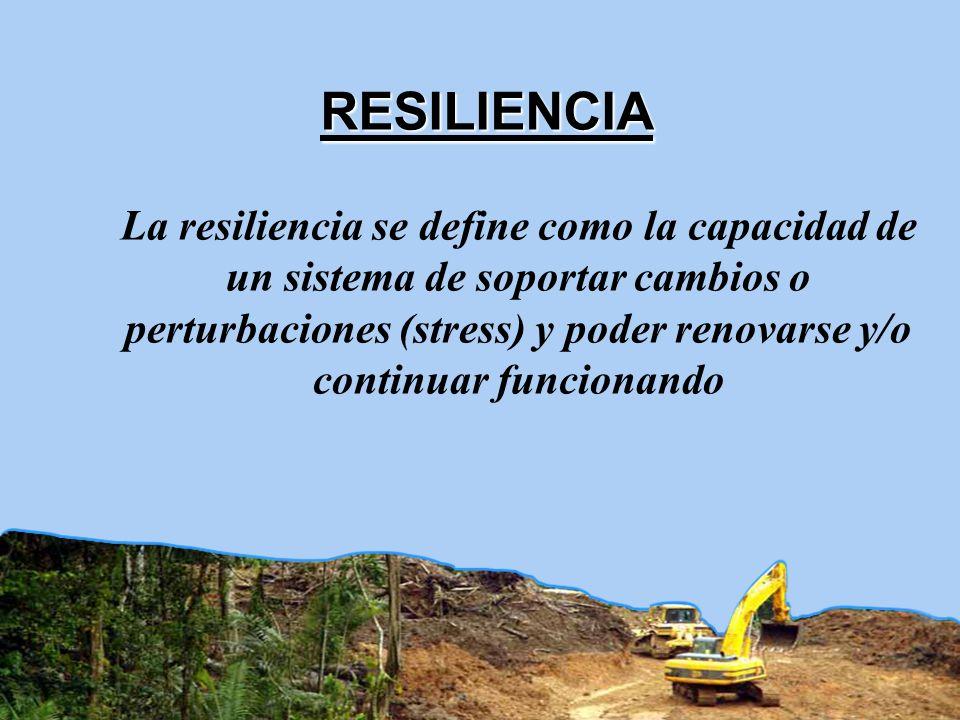 La resiliencia se define como la capacidad de un sistema de soportar cambios o perturbaciones (stress) y poder renovarse y/o continuar funcionando RES