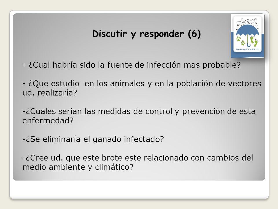 - ¿Cual habría sido la fuente de infección mas probable? - ¿Que estudio en los animales y en la población de vectores ud. realizaría? -¿Cuales serian