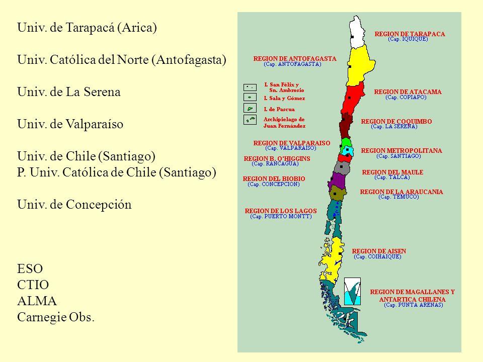 Univ. de Tarapacá (Arica) Univ. Católica del Norte (Antofagasta) Univ. de La Serena Univ. de Valparaíso Univ. de Chile (Santiago) P. Univ. Católica de