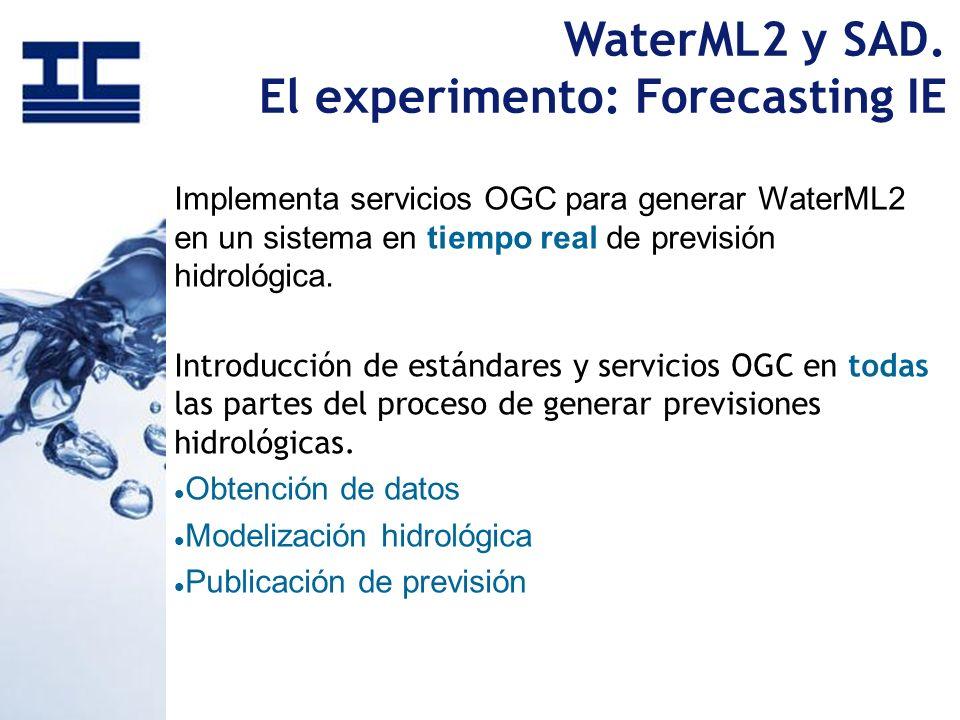 WaterML2 y SAD. El experimento: Forecasting IE Implementa servicios OGC para generar WaterML2 en un sistema en tiempo real de previsión hidrológica. I