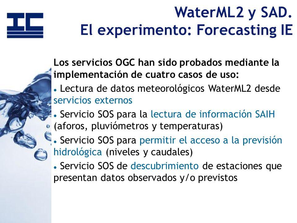 WaterML2 y SAD. El experimento: Forecasting IE Los servicios OGC han sido probados mediante la implementación de cuatro casos de uso: Lectura de datos
