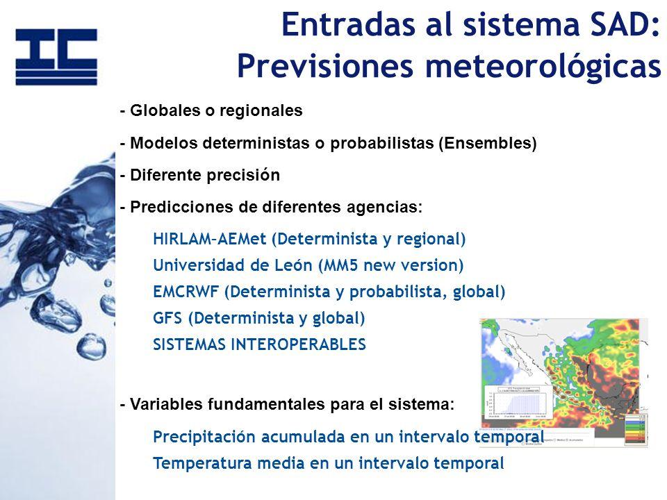 Entradas al sistema SAD: Previsiones meteorológicas - Globales o regionales - Modelos deterministas o probabilistas (Ensembles) - Diferente precisión