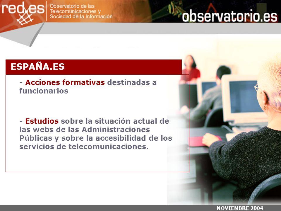 NOVIEMBRE 2004 - Acciones formativas destinadas a funcionarios - Estudios sobre la situación actual de las webs de las Administraciones Públicas y sobre la accesibilidad de los servicios de telecomunicaciones.