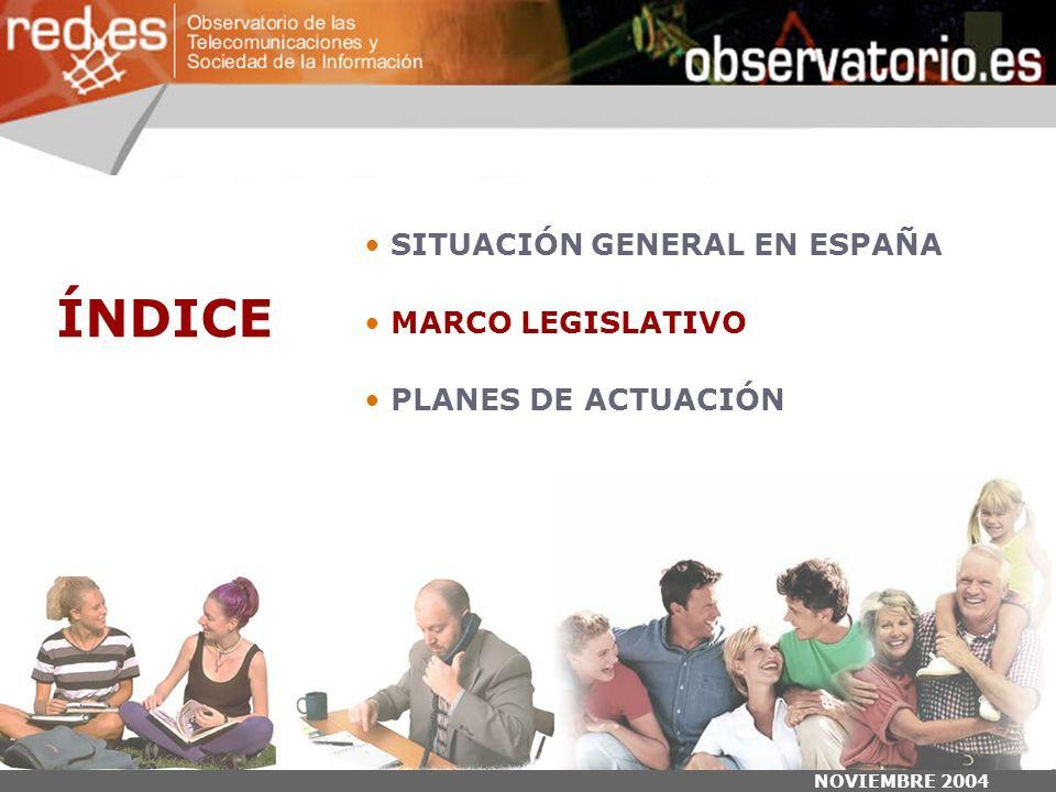 NOVIEMBRE 2004 ÍNDICE SITUACIÓN GENERAL EN ESPAÑA MARCO LEGISLATIVO PLANES DE ACTUACIÓN