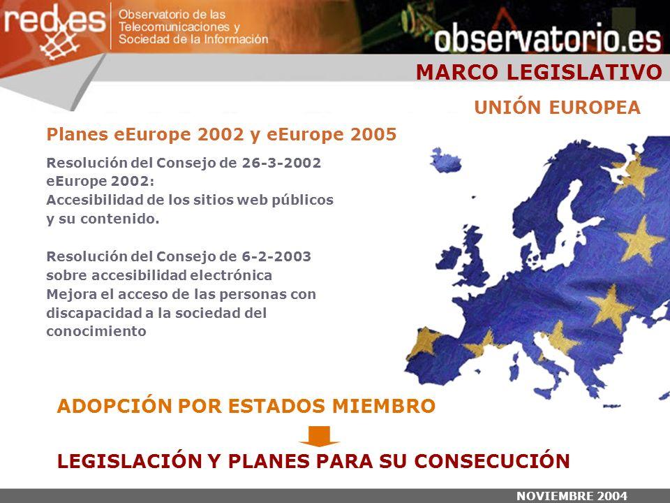 NOVIEMBRE 2004 Planes eEurope 2002 y eEurope 2005 Resolución del Consejo de 26-3-2002 eEurope 2002: Accesibilidad de los sitios web públicos y su contenido.